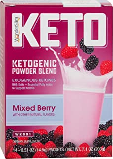 WonderSlim KETO Ketogenic Powder Blend Drink Mix (Mixed Berry) - Exogenous Ketones (BHB) and Omega Fats Supplement for a Keto Diet (14 Count)
