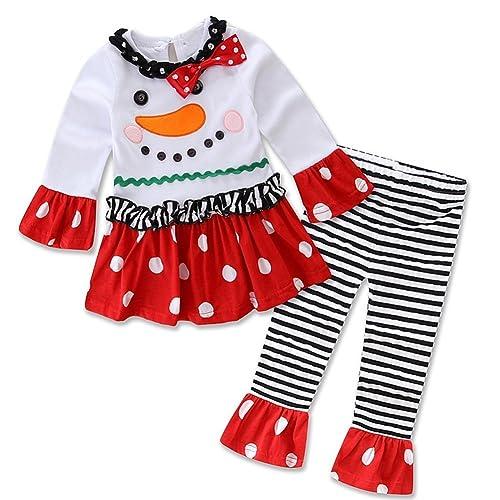 e38cbcc7d4385 Baby Girls Toddler Christmas Set Snowman Top Leggings Headband Outfits