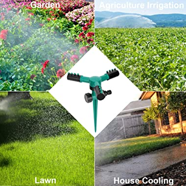 Lawn Sprinkler, Automatic 360 Rotating Garden Water Sprinklers Lawn Adjustable 3 Arms Sprayer Irrigation System, Leak-Proof D
