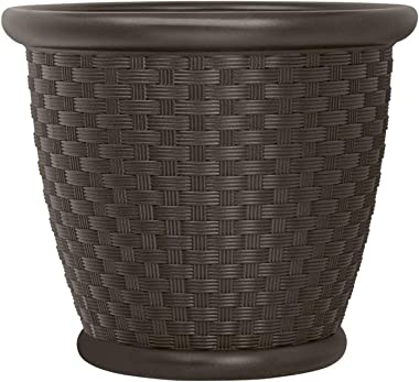 """Suncast p181605e34 18"""" Sonora Resin Wicker Planter Contemporary Lightweight Flower Pot for Indoor and Outdoor, Use, Home, Yar"""