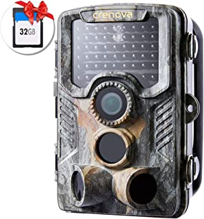 Crenova 20MP PH760 Hunting Trail Camera Updated to 47pc 940nm IR LEDs 32GB Card Included, IP66 Game Camera with 1080P Motion Activated Night Vision for Wildlife Hunting & Home Monitoring (Camouflage)