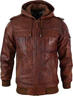 Aviatrix Mens Real Leather Hood Bomber Jacket Tan Timber Brown Washed Vintage Quilted
