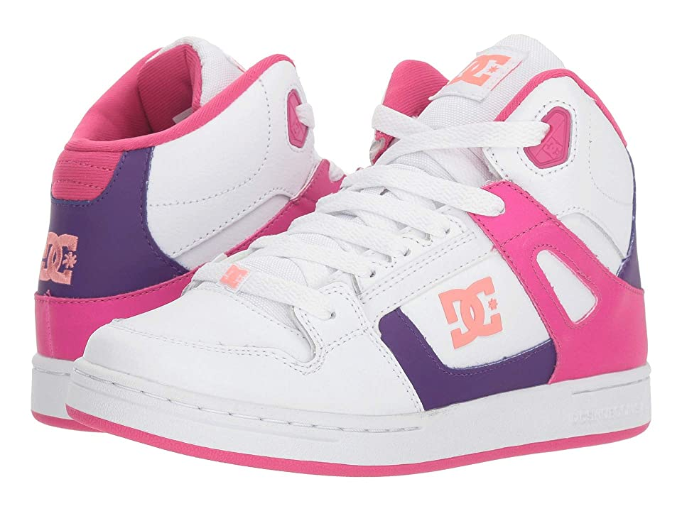 DC Kids Pure High-Top SE (Little Kid/Big Kid) (White/Multi) Girls Shoes