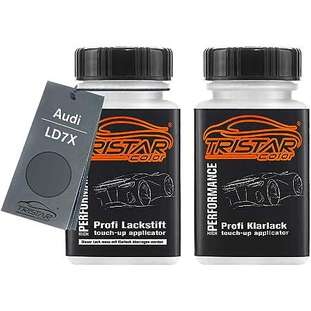 Tristarcolor Autolack Lackstift Set Für Audi L1rr Platinumgrau Metallic Basislack Klarlack Je 50ml Auto