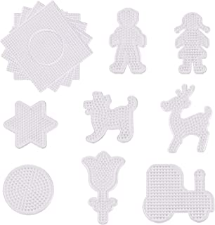 Xgood Beads Pegboards Round Cute Fuse Beads Boards 4 Pieces Clear Square Fuse Beads Pegboards & 8 Pieces Plastic Template DIY Beads Boards for Kids Craft Beads