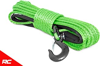 Rough Country Green Synthetic Winch Rope w/Clevis Hook and Sleeve 85 FT Rated at 16,000 LBS RS113