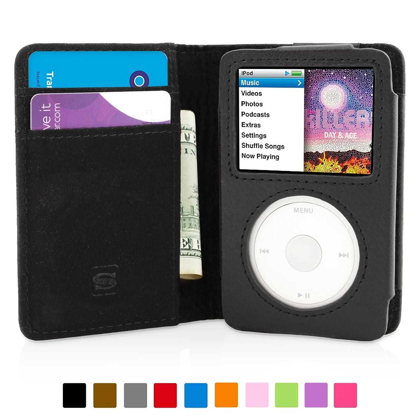 マトリックスリズムピボット英国Snugg社 iPod Classic 用 手帳型 PUレザーケース - 生涯補償付き (ブラック)