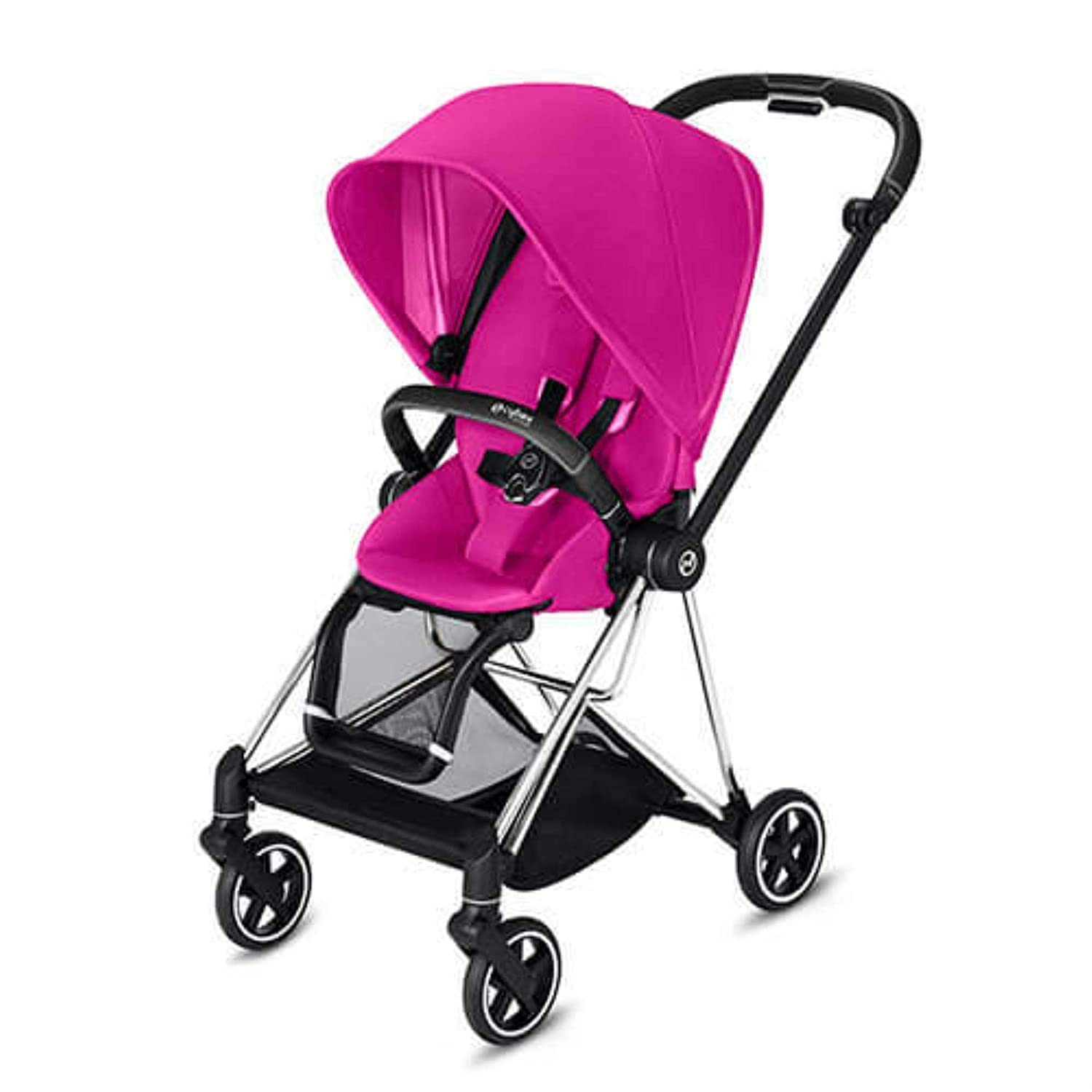Cybex Mios 2 Complete Stroller, One-Hand Compact Fold, Reversible Seat, Smooth Ride All-Wheel Suspension, Extra Storage, Adjustable Leg Rest, XXL Sun Canopy, in Fancy Pink with Chrome/Black Frame