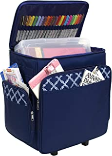 Everything Mary Blue & White Rolling Scrapbook Storage Tote - Scrapbooking Storage Case for Rings, Paper, Binder, Crafts, Beads, Paper, Scissors - Telescoping Handle with Dual Wheels - Craft Case