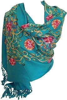 Bullahshah Premium Lush bordado pashmina sentir bufandas