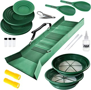 ASR Outdoor 17pc Deluxe Sluice Box Gold Prospecting Kit Classifier Pans Snifter