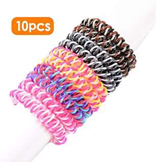 Spiral Hair Ties No Crease Elastic Ponytail Holders Phone Cord Traceless Hair Ring Suitable for All Hair Types 5 Colors,2pcs/color, Pack of 10