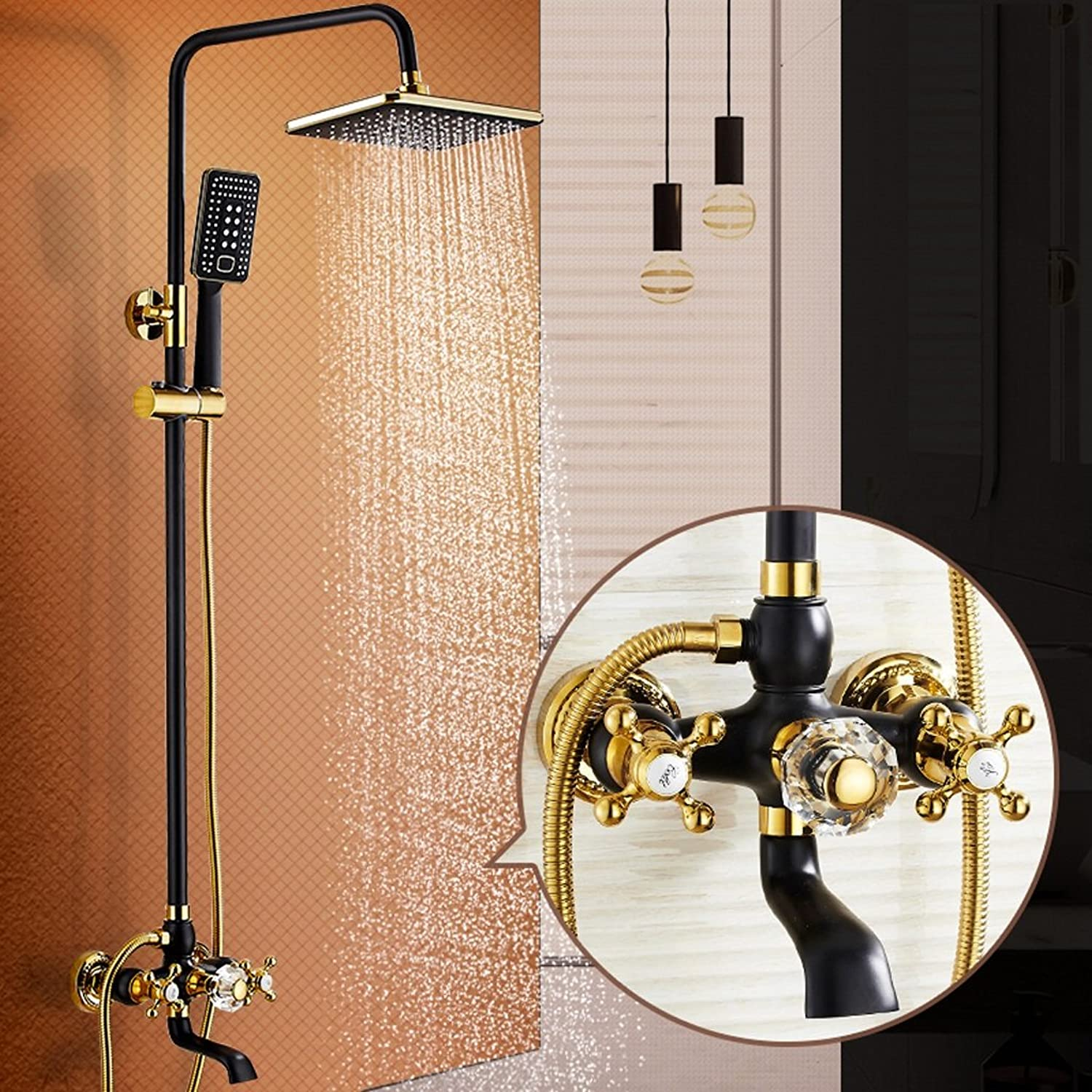 Square Thermostatic Shower Set, Black Shower Head, European Hand Shower (Copper)