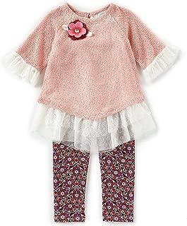 Girls Size 2T-6X Peach Lace Sweater Top Legging Set