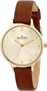 Skagen Women 's Anita reloj de piel sillín con funda de color Dorado
