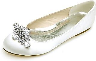 Elaboky Scarpe da Sposa in Seta da Donna con Punta Chiusa A Mano Nuove Pompe Piatte/Tacco 0.6cm / Vestito