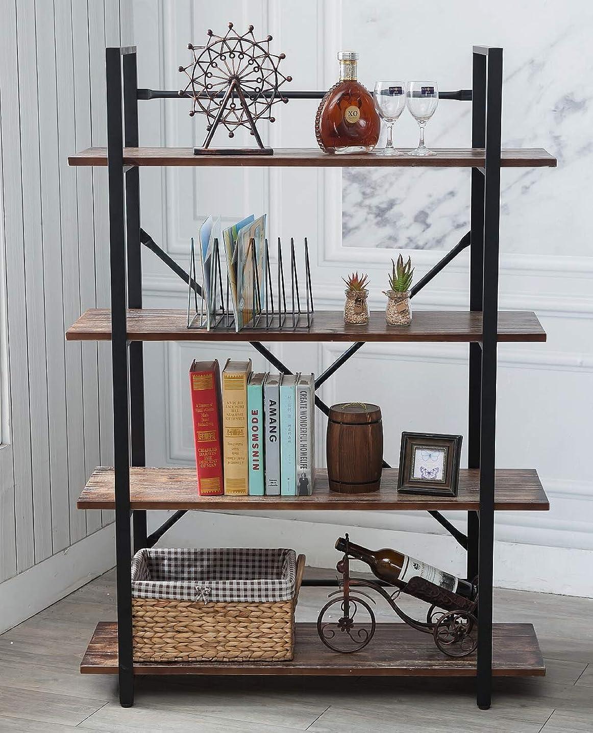 BIXIRAO 4 Tiers Industrial Open Bookcases, Wood Book Shelves, Etagere - Storage Rack Display Stand - Metal Book Shelves, Black (4-Tier Solid Wood Bookcase)