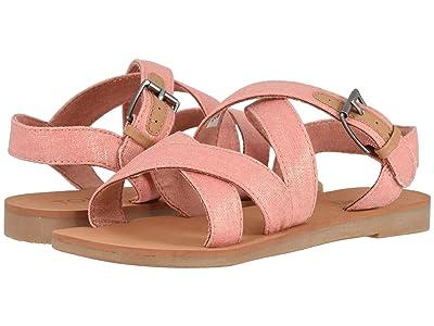 TOMS Kids Sicily (Little Kid/Big Kid) (Coral Pink Shimmer Canvas) Girls Shoes