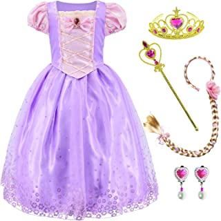 Princess Costume Dress for Girls Party Dress Up with Braid,Earings,Tiaras & Wand 3-9 Years