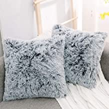 "NordECO Luxury Soft Faux Fur Fleece Cushion Cover Pillowcase Decorative Throw Pillows Covers, No Pillow Insert, 20"" x 20"" ..."