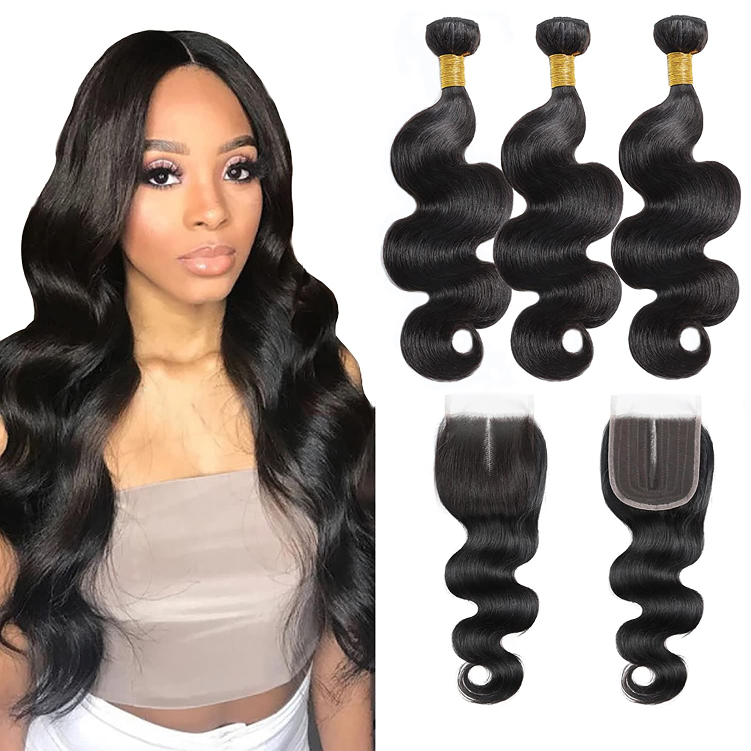 Body Wave 3 Bundles Human Hair 70% OFF Colorado Springs Mall Outlet with Pa 12 Closure 14+8 Middle 10