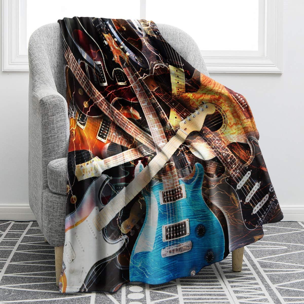 Jekeno Music Guitar Blanket Print Throw Blanket Soft Warm for Kids Adults Travelling Camping 50