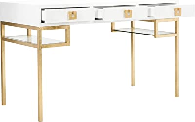 Safavieh Couture Home Office Neria Glam White Lacquer and Gold Leaf 3-drawer Writing Desk