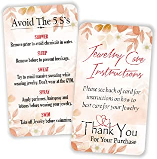 """Jewelry Care Instruction Cards - (Pack of 100) 3.5"""" x 2"""" Thank You Package Insert for Jewelry Cleaning Customer Directions..."""
