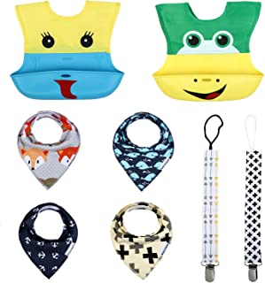 Baby Toddler Bib Set Including 4 Cotton Bibs 2 Fabric & Silicone Roll-Up Bibs, 2 Pacifier Clips, Safe, Durable, Easy to Wash, Stylish Design & Colors. Great Shower Gift (Buddy Bears)