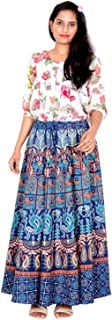 Rajvila 36 Inch Length Women's Cotton Printed Regular Long Elasti Skirt for Women (E_E36NT_0005)