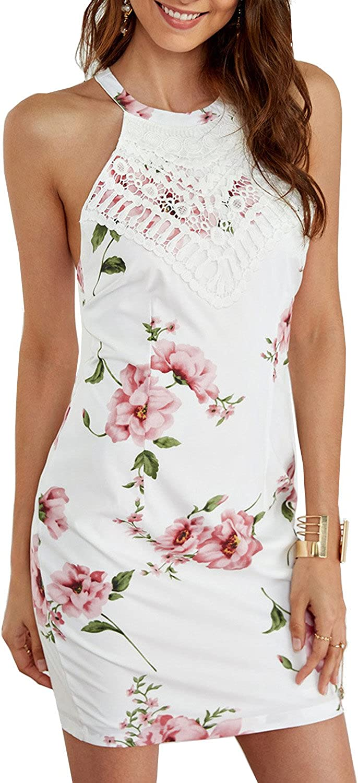 Lamilus Women's Summer White Halter Random Floral Print Sexy Mini Dress