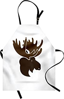 Ambesonne Moose Apron, Deer Head Canadian Northern Wilderness Mammals Hunting Graphic, Unisex Kitchen Bib with Adjustable Neck for Cooking Gardening, Adult Size, Army Green