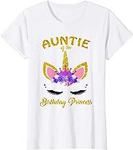 Womens Aunt Of The Birthday Princess T-Shirt Unicorn Birthday Girl