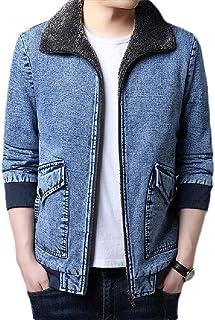 MU2M Mens Winter Sherpa Fleece Lined Zip Front Thick Denim Jeans Trucker Jacket