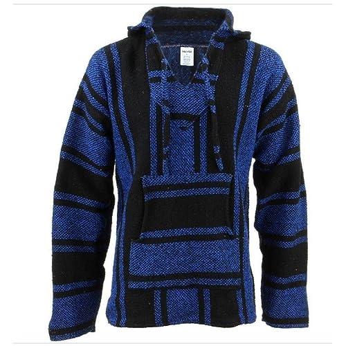 8ba5d0463c91 Del Mex Mexican Baja Hoodie Hippie Surf Poncho Sweater Sweatshirt Pullover  Jerga