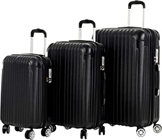"""Murtisol Travel 3 Pieces ABS+PC Luggage Sets, Expandable+TSA Lock, 210D lining, Durable Spinner Suitcase 20"""" 24"""" 28"""", 3PCS Black"""