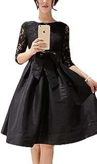 (ブーラン ブラン) Bulan Blanc リボン 花 レース フレアワンピ 5分袖 黒 パーティ 結婚式 演奏会 XL
