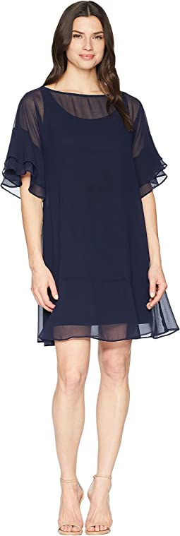 2E Poly Georgette Kiralyn Elbow Sleeve Day Dress