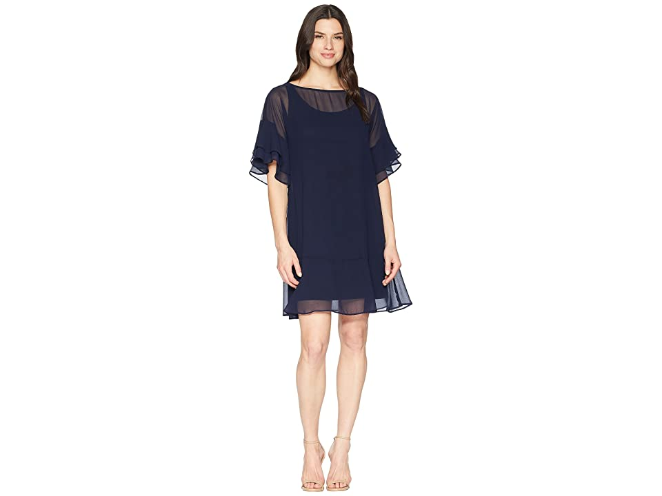 LAUREN Ralph Lauren 2E Poly Georgette Kiralyn Elbow Sleeve Day Dress (Lighthouse Navy) Women