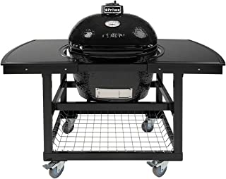 Primo Oval LG 300 Ceramic Smoker Grill On Cart with 2-Piece Island Top