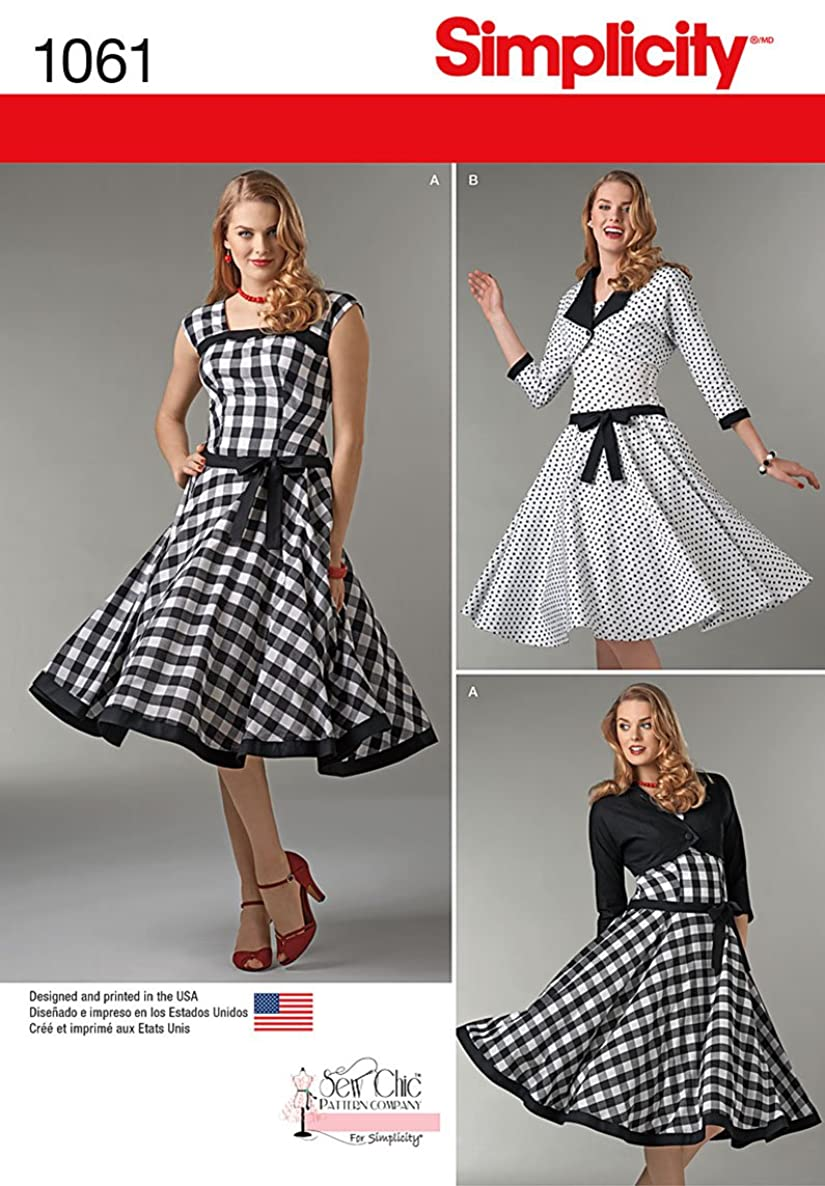 Simplicity 1061 Vintage Swing Dress and Lined Jacket Sewing Pattern for Women, Sizes 4-12