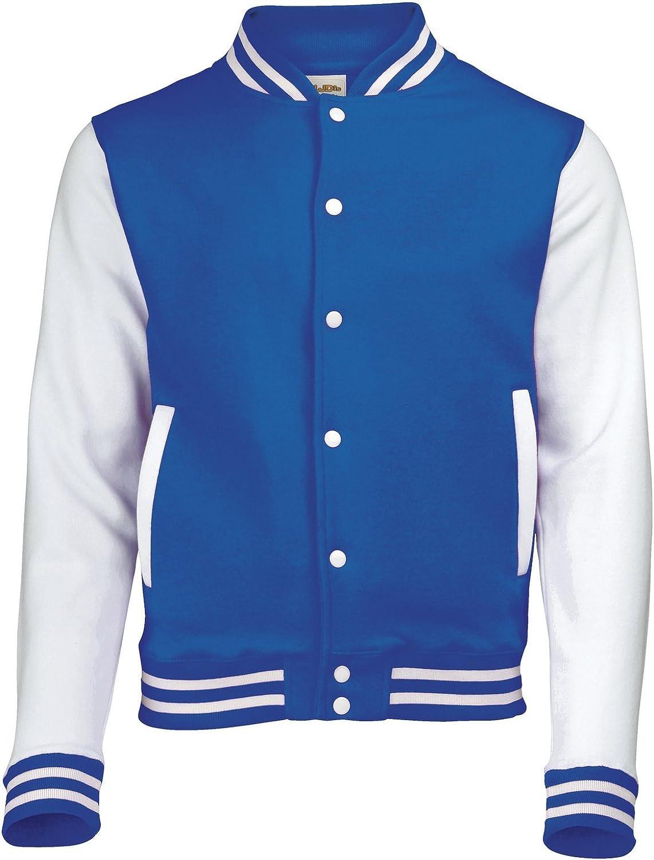 AWDis Hoods Varsity Letterman jacket Royal Blue / White 2XL