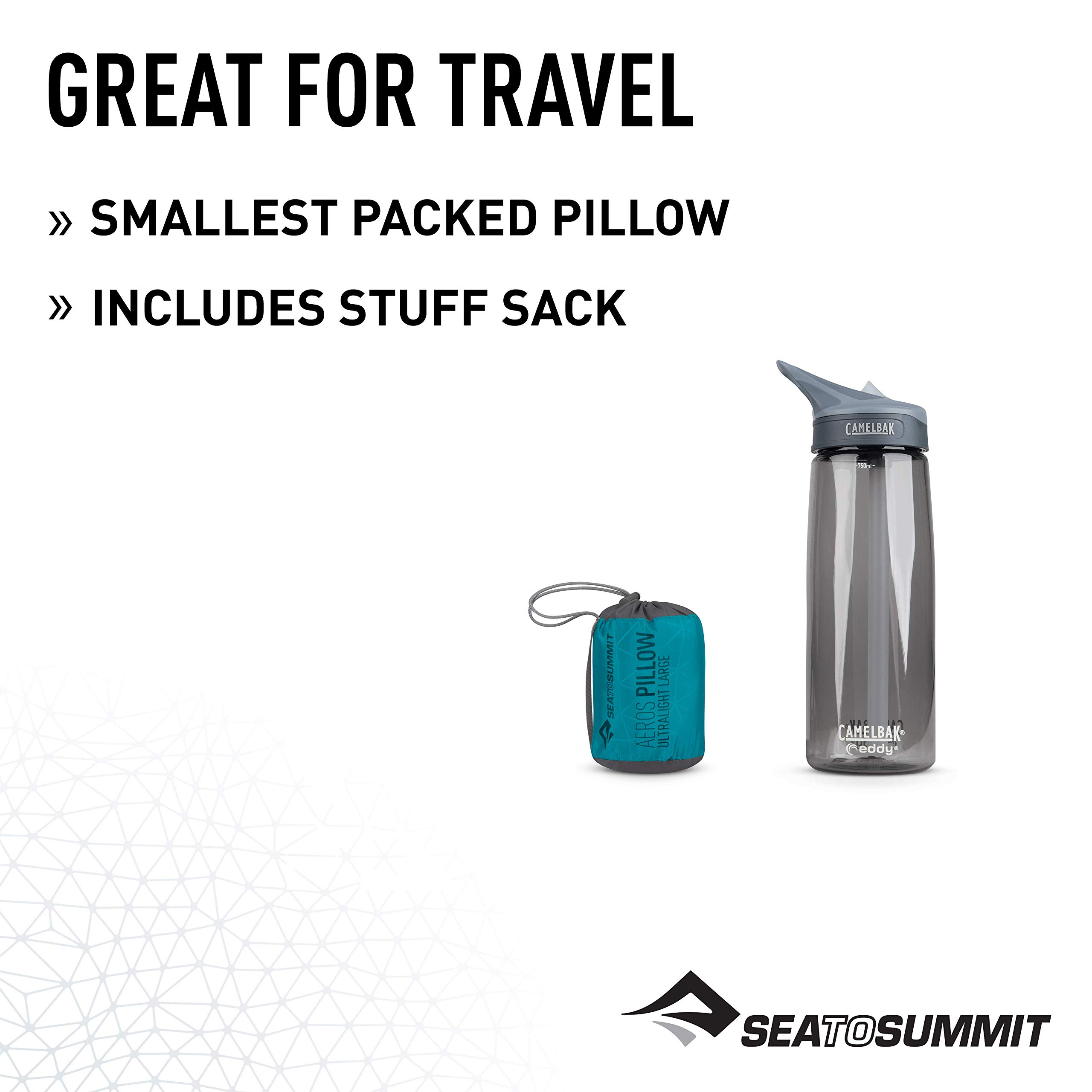 Sea to Summit Aeros Ultralight Pillow Large Inflatable Travel Pillow, 574, Aqua Blue