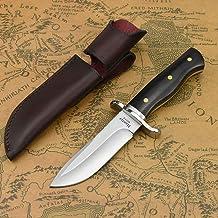 NedFoss Jagdmesser scharf Hunter, Survival Messer für Outdoor, Scharfer D2 Messer mit Exquisite Ledertasche, Rotholzgriff, 59-60HRC, Extra scharf