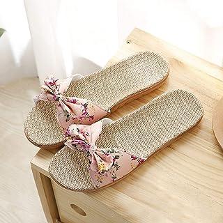Slippers Ladies Slippers Women Bowknot Linen Slippers Beach Casual Shoes Ladies Sandals Slippers