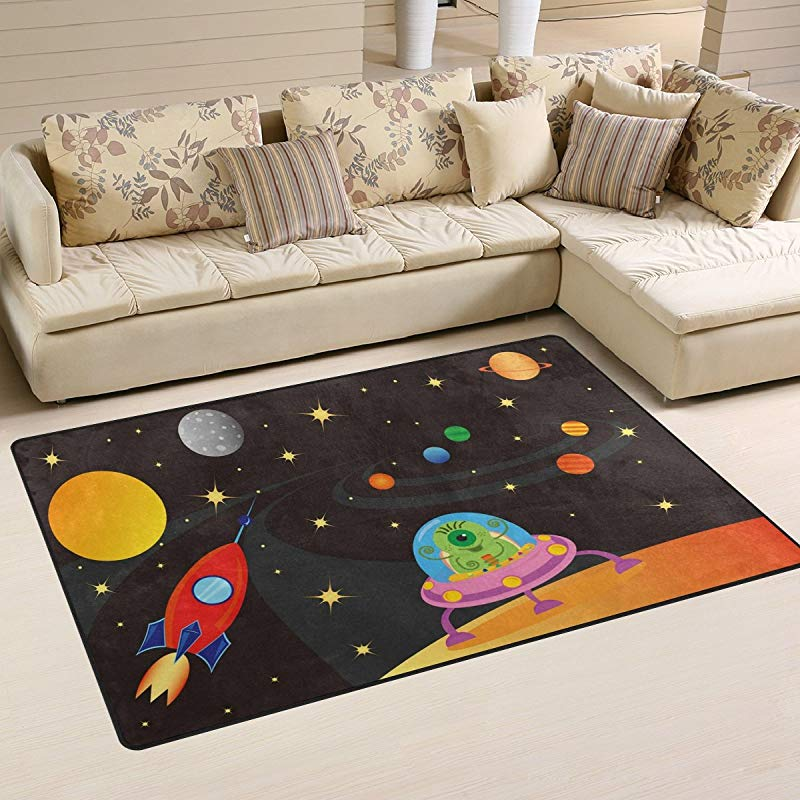 WOZO Spaceship Universe Outer Space Area Rug Rugs Non Slip Floor Mat Doormats Living Room Bedroom 31 X 20 Inches