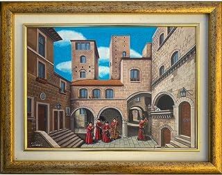 """Quadro arte PITTORE ULISSE olio su tavola""""Il borgo degli innamorati"""" Opera unica ULISSE IN ARTE"""