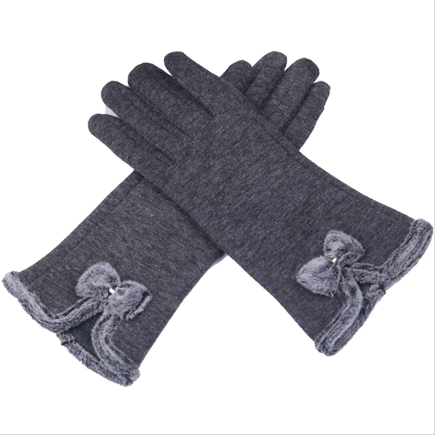 HIWKX Gloves Touch Screen Women's Gloves Knitted Double-Layer Padded Warm and Comfortable