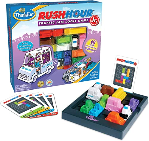 Think Fun Rush Hour Junior Traffic Jam Logic Game and Stem Toy for Boys and Girls Age 5 and Up - Junior Version of Th...