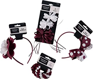 French Toast Kid's School Uniform Ponytail Holders and Headbands, 4-pack, Burgundy & White, One Size